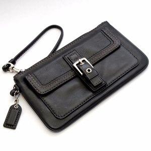 Coach Soho Buckle Black Leather Zip Wristlet